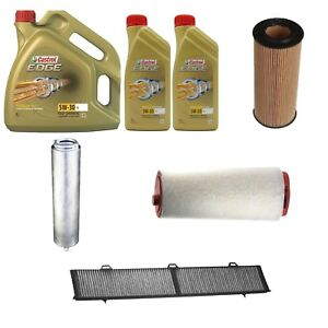 Kit tagliando olio CASTROL EDGE 5W30 6LT + 4 FILTRI WIX BMW 320D E90-E91