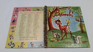 vintage Little Golden book BAMBI Walt Disney's D53:30 1stSYD DEER Thumper Flower