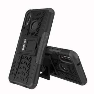 AMZER Dual Layer Hybrid Warrior Case with Stand for Huawei P20 Lite - Black