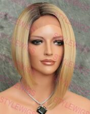 Light Blonde Mix Angled Bob Heat OK Synthetic Hair Lace Front Wig SAVA 4/1074