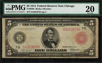 "1914 $5 Federal Reserve Note - Chicago - FR-838b - RED SEAL - PMG 20 ""Comment"""