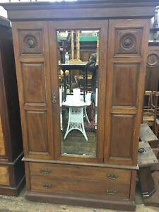 Antique Scottish  Mahogany Wardrobe Armoire Mirror Door Old Original Aberdeen