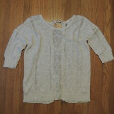 Anthropologie Knitted and Knotted Sweater Open Back 3/4 Sleeve Womens Sz Medium