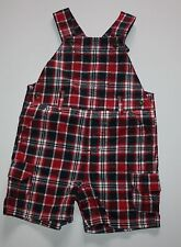 New Gymboree Red Blue Plaid Shortall Overalls Shorts 6-12m NWOT 4th of July Line
