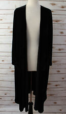 Large LuLaRoe Sarah Beautiful Velvet Velour Solid Black Duster Cardigan Unicorn