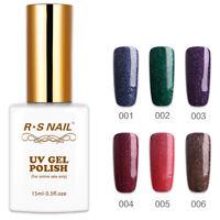 RS NAIL UV LED Gel Nail Polish Soak Off Sequined Glitter Rainbow Colour 15ml New