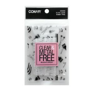 SCUNCI - Bobby Pins Clear and Metal Free - 25 Count