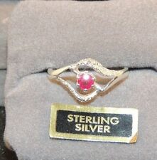 Sterling Silver with 4mm Ruby Ring Size 6  (7922)