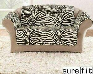 New Sure Fit Animal print Zebra stripe velvet furniture loveseat pet pad Throw