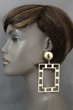 New Women Fashion Earrings Set Big Art Deco Thick Gold Metal Square Shape Retro