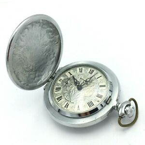 Vintage MOLNIJA Retro Pocket Watch USSR TESTED Floral Soviet Collectible Men's