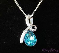 REDUCED! Elegant Topaz Blue Coloured Crystal Pendant Necklace - 70% OFF MRP!