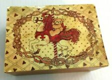 Enesco Wood Musical Jewelry Box Teddy Bear 1984 Plays My Favorite Things Taiwan