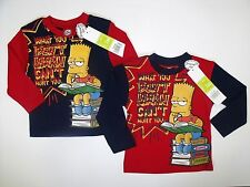 Kids Long Sleeve Character Top Boys Printed The Simpsons Shirts Size 2 - 8Years