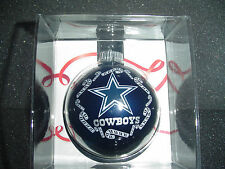 Dallas TX Cowboys Star Christmas Tree Glass NFL Ornament Round Ball football