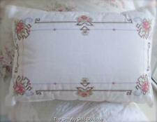Embroidered Couch Cushion Shabby Vintage White French Cottage Embroidery Chic Nw