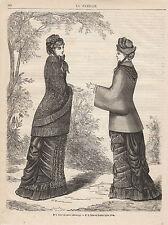 Gravure de mode ancienne  robe en satin  robe en foulard   no 7