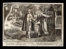 santino incisione 1600* S.ETBINO DI KILDARE   le clerc