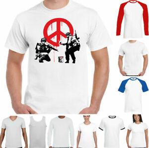 BANKSY T-SHIRT Mens Peace Symbol Street Art Graffiti Anti War Love Hippie Top