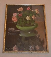 A Lovely Pastel Still Life of Roses Flowers in a green Bowl Signed  A.C. Winter