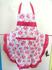 CHILDS-APRON-IN-HOT PINK-WITH-FLOWERS-SIZE-5-6-7