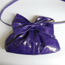 PURPLE PVC HANDBAG WITH LARGE BOW AND REMOVABLE SHOULDER STRAP