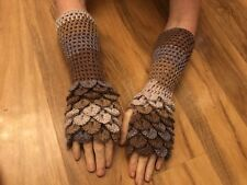 HandCrochet Dragon Fingerless Gloves LONG Shades of Heathers Game of Thrones