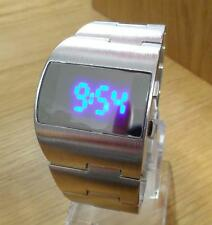 Mens 70s Modern Retro Design Silver Asymmetric Blue LED Digital Fashion Watch