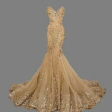 New Gold Lace Mermaid Wedding Dress Appliques Bridal Gown Custom Size 4+26