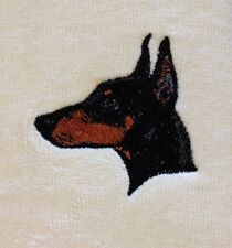 Doberman Pinscher Head, Hand Towel, Embroidered, Custom, Personalized, Dog
