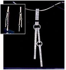 Swarovski Crystal Set Necklace Pierced Earrings White Rhodium Plating Elegant