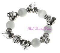 Electric Cats Eyes Silver Aurora Czech Star Glass Bracelet w/ Swarovski Crystals