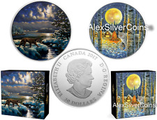2 coins x 2 oz Silver Glow-In-The-Dark - Animals in the Moonlight: COUGAR + LYNX