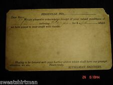 1900 Kitselman Brothers Ridgeville IN Postcard Receipt Old Barb Wire Fencing PC