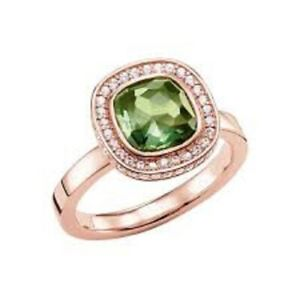 NEW Genuine Thomas Sabo 925 Silver Rose Gold Green CZ Ring TR2029 Size 54 £179