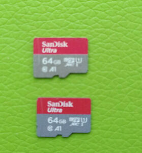 Lot of 2 64 Gb Sandisk Ultra / Plus UHS-I micro SD sdhc cards U1 phone memory