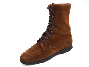 Tod's Combat Ankle Boots Brown Suede Women Size US 8 EU 38 $580