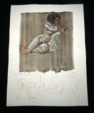 Hawaii Mixed Media Wash Painting Seated Female Nude Snowden Hodges(Sho)#124