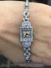 Ladies Vintage Estate Antique Platinum Diamond Hamilton Watch