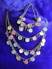 3-Strand Gypsy Mother-of-Pearl Necklace & 2-Strand Bracelet Silvertone Chain VGC