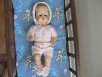 """NO DOLL   HAND KNIT BY ME LAYETTE  FOR 17"""" TEENY TINY TEARS DOLL"""