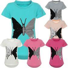 Mädchen T-Shirt Kurzarm Wende-Pailletten Motiv Glitzer Bluse Sweat-Shirt 21288