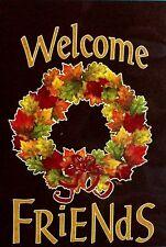 """Welcome Friends ""Bird Leaf Wreath Fall Full Size"