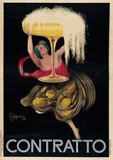 Original Italian Contratto Sparkling Wine Poster by Cappiello 1922 Large Format
