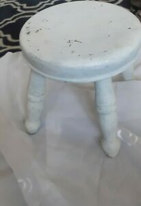 Vintage Small Round Wooden Milking Stool , White  - Needs Repaint / Stripping