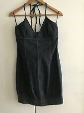 Stradivarius Denim Cuello en V Vestido, Talla L, cremallera lateral, falda globo