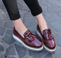 ladies oxfords Flats Platform Brogue Leather Slip-on pointed Creeper shoes