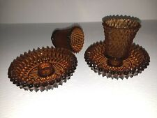4 Pieces Vintage Amber Diamond Pressed Glass 2 Candle Votives With 2 Holders