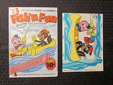 1945 FISH' N FUN Fawcett Tippy Paper Toy #5 VF Unused Willie The Worm & Sammy