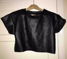 Missguided Black Leather Crop Top w/ roll sleeves